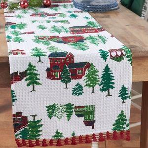 April Cornell Christmas Village Crochet Runner NWT